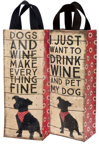 Primitives By Kathy - Wine Tote - Dogs and Wine