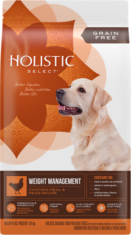 Holistic Select Dog Food - Grain Free Weight Management Chicken Meal & Peas
