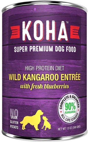Koha Dog Food - Wild Kangaroo Entrée with Fresh Blueberries - 13oz 12/cs