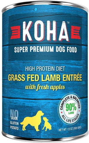 Koha Dog Food - Grass Fed Lamb Entrée with Fresh Apples - 13oz 12/cs