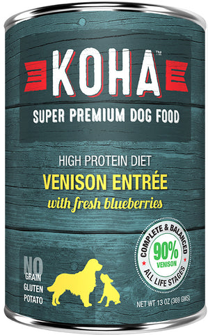 Koha Dog Food - Venison Entrée with Fresh Blueberries - 13oz - 12/cs