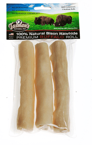 "Hollywood Feed - Tasman's Roll Medium - 3 Pack - 6"" - Bison Rawhide - 1"