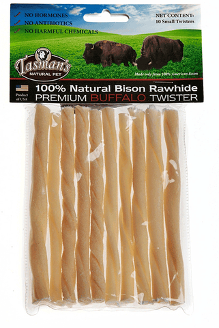 Hollywood Feed - Tasman's Twisters Small - 5 inch 10 Pack - Bison Rawhide - 1