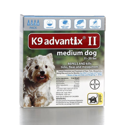 Hollywood Feed - K9 Advantix II - 4 pack - For dogs 11 to 20 lbs - Flea and Tick