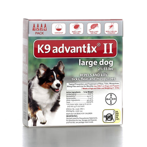 Hollywood Feed - K9 Advantix II - 4 pack - For dogs 21 to 55 lbs - Flea and Tick