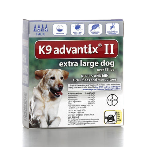 Hollywood Feed - K9 Advantix II - 4 pack - For dogs over 55 lbs - Flea and Tick