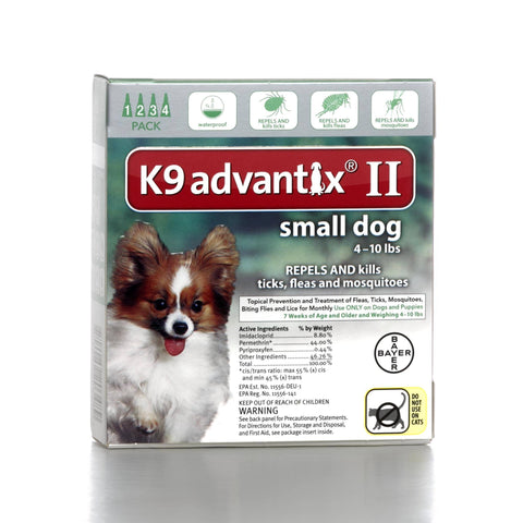 Hollywood Feed - K9 Advantix II - 4 pack - For dogs under 11 lbs - Flea and Tick