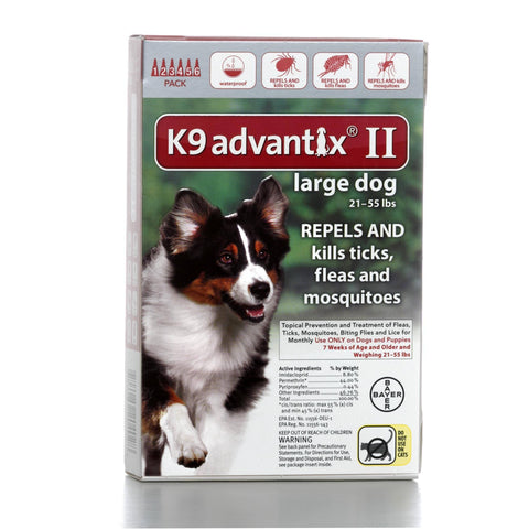 Hollywood Feed - K9 Advantix II - 6 pack - For dogs 21 to 55 lbs - Flea and Tick