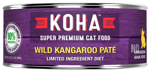 KOHA Canned Cat Food - 96% Kangaroo Pate - 5.5oz 24/cs
