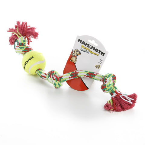 Hollywood Feed - Mammoth Rope Toy - Braided Tug with Tennis Ball - Large -