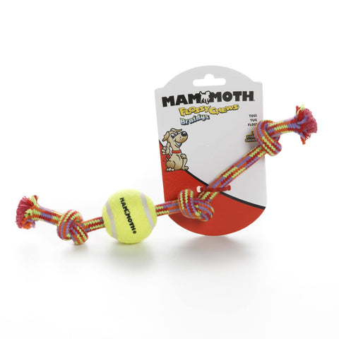 Hollywood Feed - Mammoth Rope Toy - Braided Tug with Tennis Ball - Small -