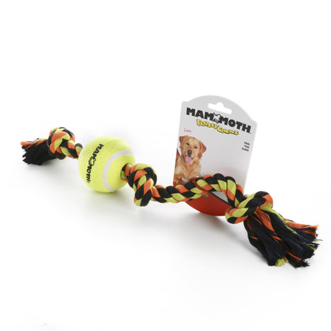 Hollywood Feed - Mammoth Rope Toy - Color Tug with 3 Tennis Balls - Medium -