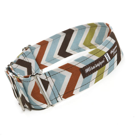 "Hollywood Feed - Mississippi Made Combo Collar - Autumn Zig Zag - 2"" - Martingale Collar - 1"