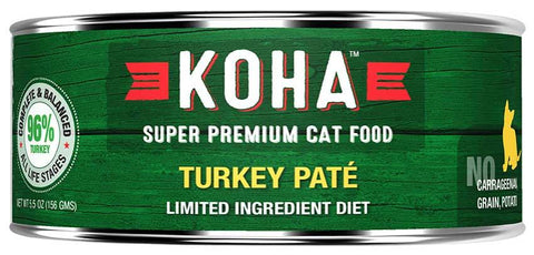 KOHA Canned Cat Food - 96% Turkey Pate - 5.5oz 24/cs