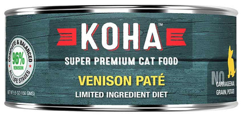 KOHA Canned Cat Food - 96% Venison Pate - 5.5oz 24/cs