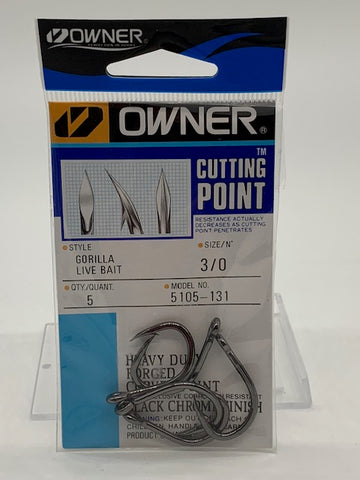 Owner Cutting Point Gorilla Live Bait Hook Size 3/0