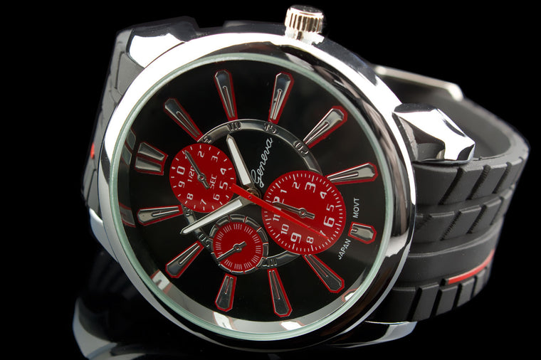 "Mens Exotic Tire Tread Stripe Watch ""V10"""