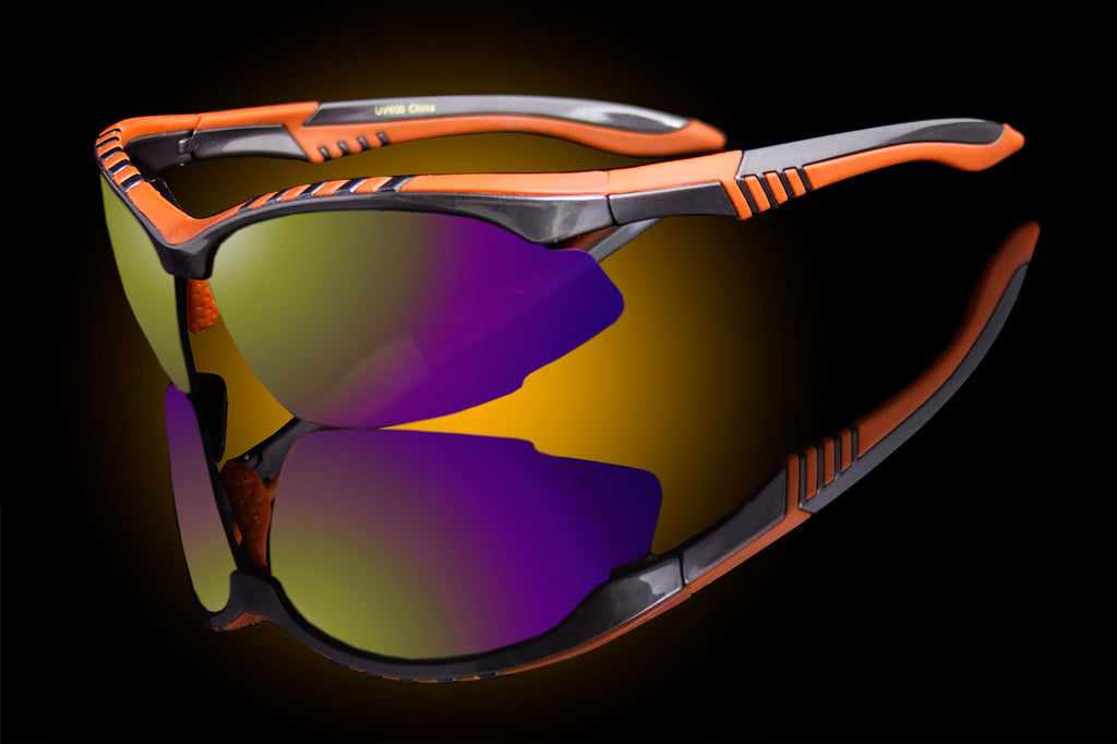 "Half Rim Double Injection Sport Wraparound Sunglasses ""Nuke"""