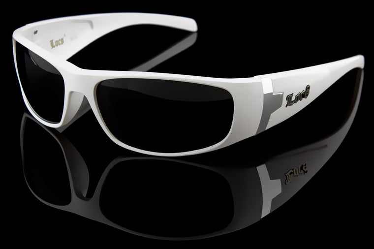 "White OG Wraparound Hardcore Locs Urban Gangsta Shades ""Bone"""