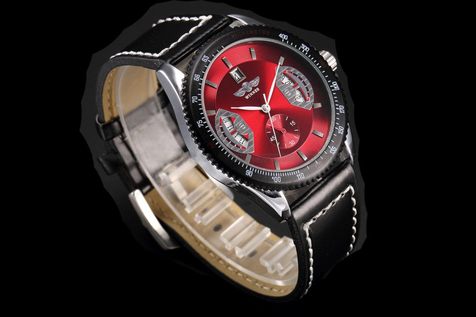 "Luxury Red Black Leather Hand Winding Mechanical Watch ""Taurus"""