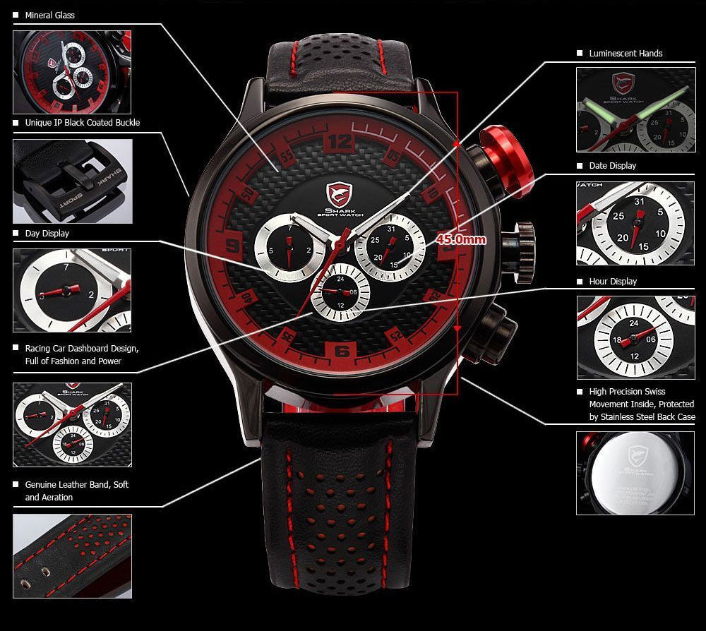"Mens Speed Racing Exotic Luxury Watch ""Turbo"" - Johnny Shades"