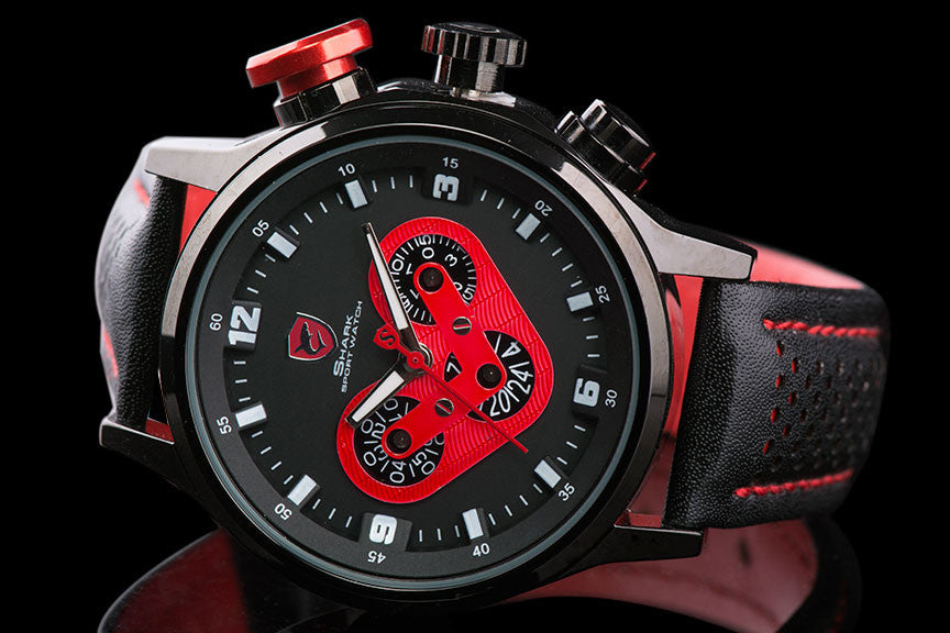 "Mens Luxury Leather Band Racing Sport Watch ""Maddon"" - Johnny Shades"