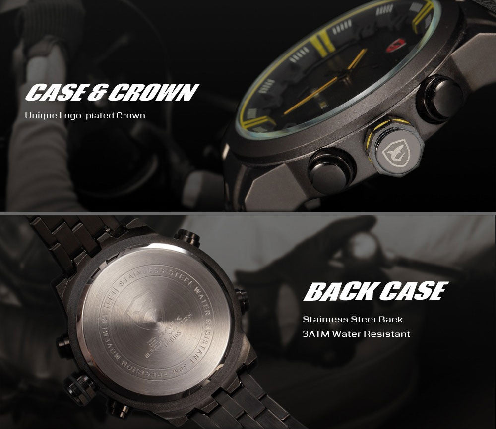 "Exotic Racing Sport Shark Watch ""Tarmac"" Analog/LED - Johnny Shades"