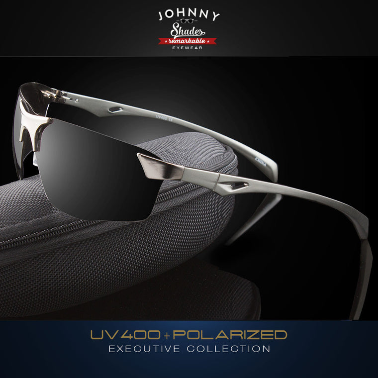 "Polarized Wraparound Mens Aluminum Sunglasses ""Stinger"""