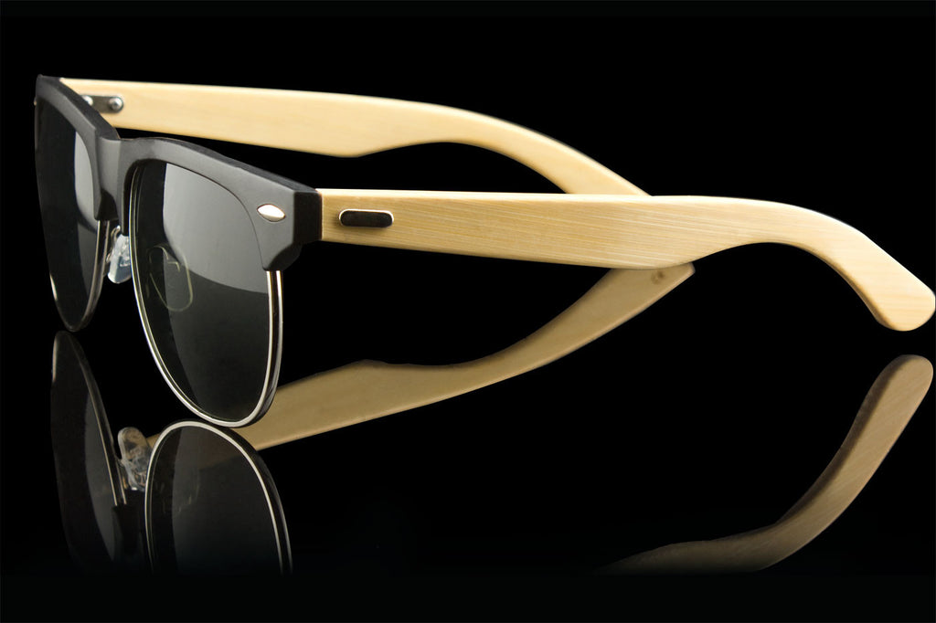 "Real Wood Bamboo Classic Wayfarer Sunglasses ""Shoots"""