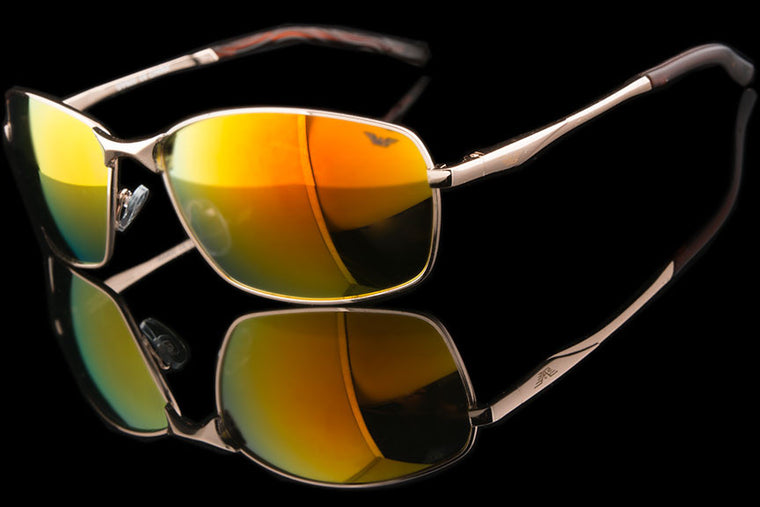 "Mens Metal Wraparound Sport Sunglasses ""Daylight"""