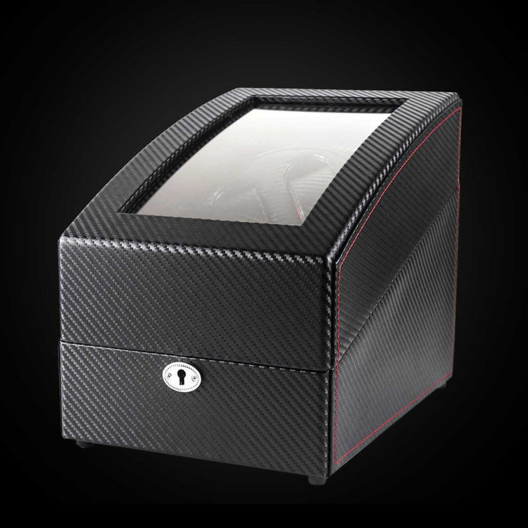 "Carbon Fiber Watch Winder Motorized Rotating Display Case ""The Winder"" - Johnny Shades"