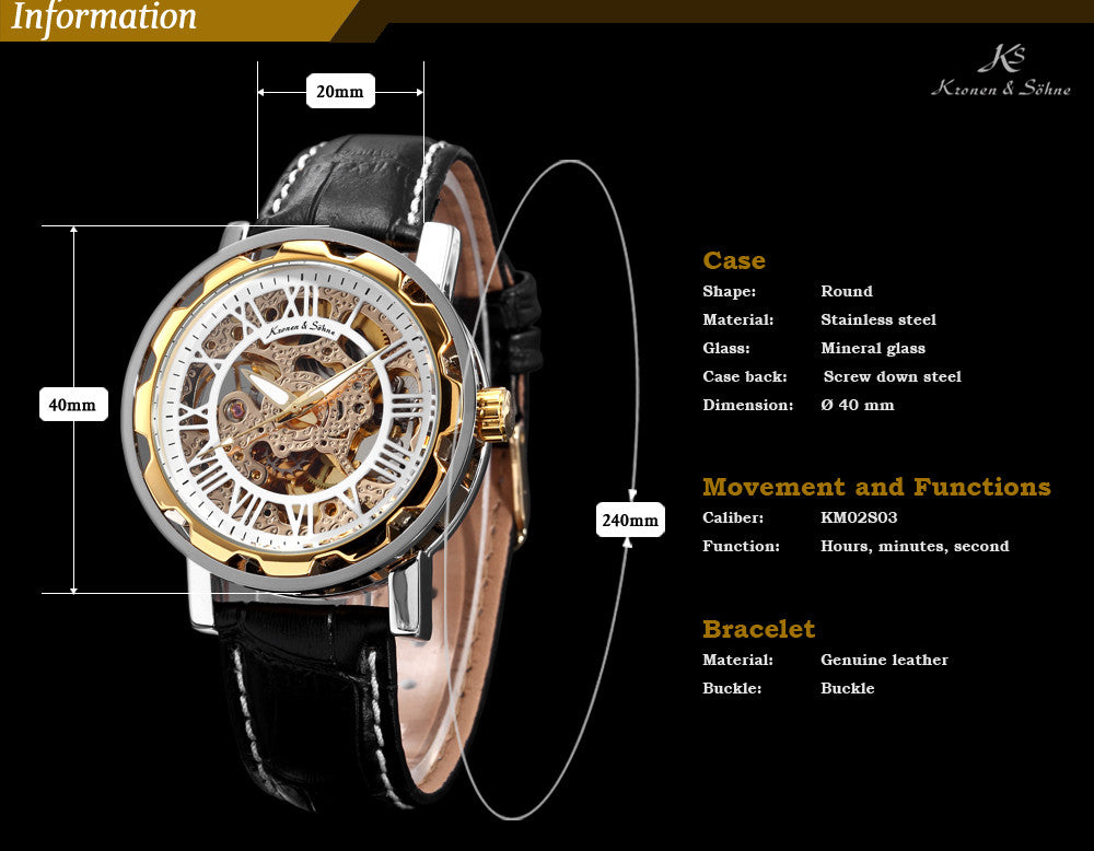 "Luxury Skeleton Black Leather Automatic Winding Watch ""Michelangelo"""