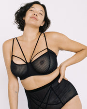 Lonely Gigi Underwire Bra Black Dot