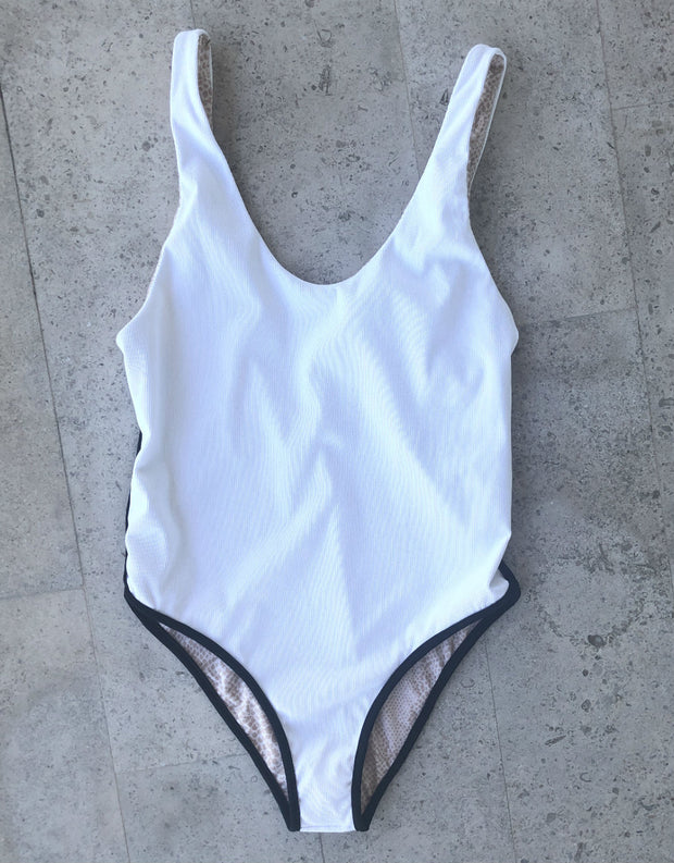 Acacia Swimwear Palm Springs Full Piece in White Rib