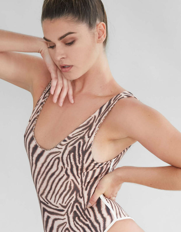 Acacia Swimwear Palm Springs Full Piece in Zebra
