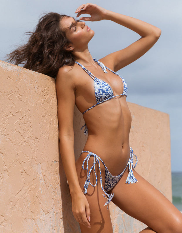 Acacia Swimwear Lipari Bikini Bottom in Blue Batik