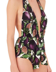 Adriana Degreas  FIG HALTERNECK SWIMSUIT WITH KNOT DETAIL