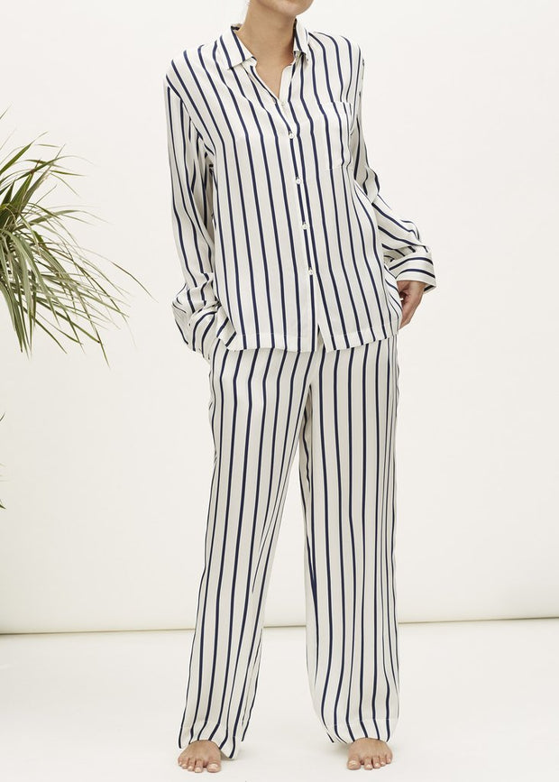 Asceno Navy Stripe Printed Silk Pajama Pant