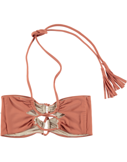 Lumahai Bandeau Bikini Top in Papaya