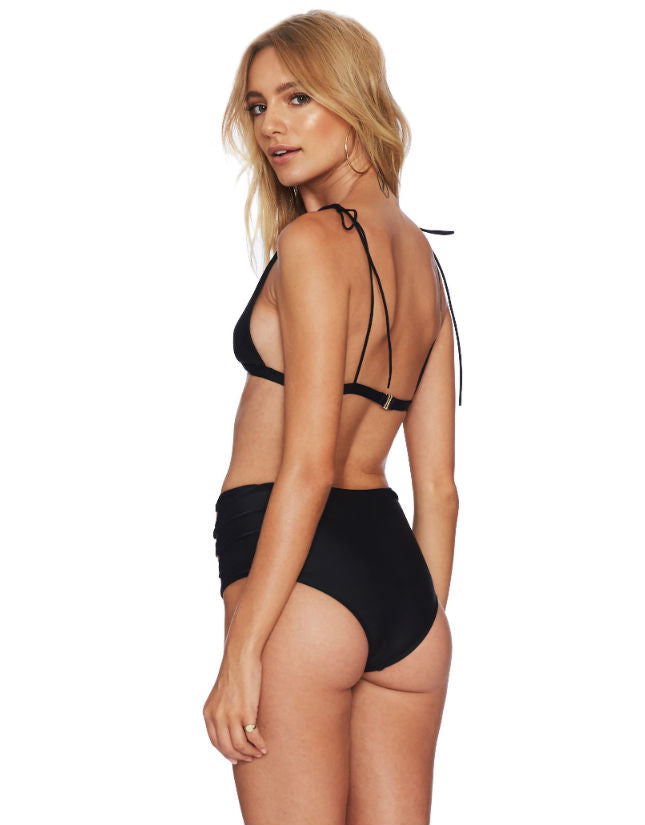 Harbor High Waist Bikini Bottom in Black