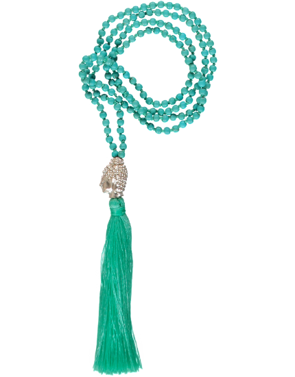 Buddha Head Bead Necklace, Aqua Tassel