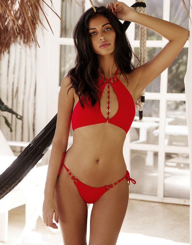 Beach Bunny Swimwear Ireland Ring High Neck Top in Red