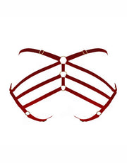 Bordelle Art Deco Ouvert Strap Brief in Burnt Red
