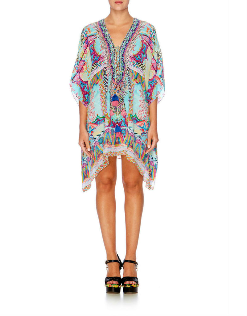 Wandering Eye Short Lace Up Kaftan
