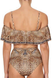 Camilla Lady Lodge Off the Shoulder Bikini Top with Frill in Animal Print