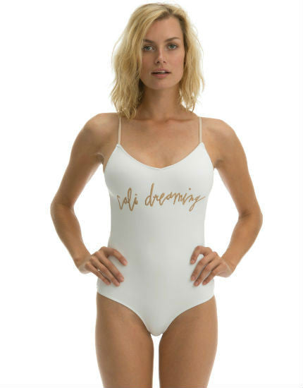 Iota One Piece Swimsuit in White Scuba