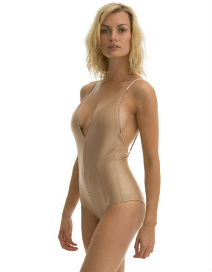 The Rose One Piece Swimsuit in Rose Gold Shimmer