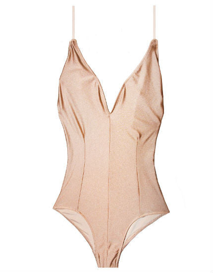 Cali Dreaming's The Rose One Piece Swimsuit in Rose Gold Shimmer