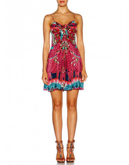 Desert Discotheque Short Dress with Tie Front