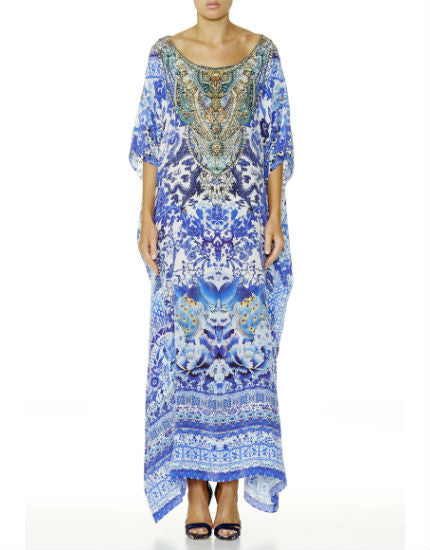 Guardian Of Secrets Long Silk Round Neck Kaftan